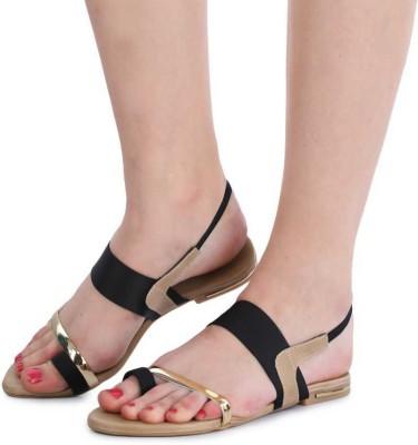 SHOPIEE Women Black, Gold Flats