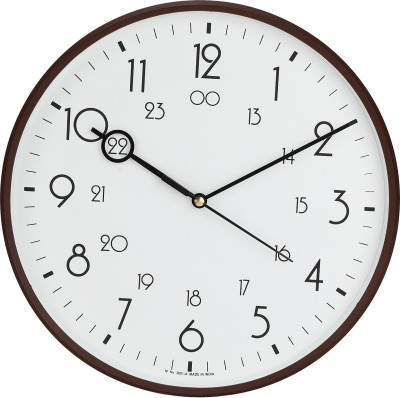 Precisio Analog 32 cm X 32 cm Wall Clock  (Brown, With Glass)