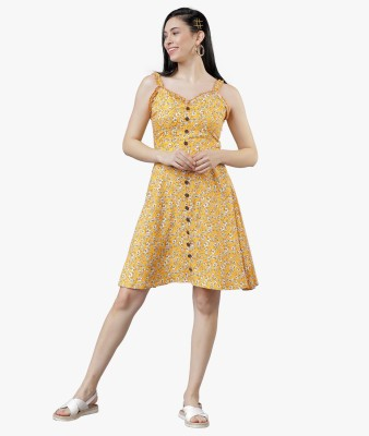 Tokyo Talkies Women A-line Yellow Dress