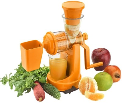 Mantavya Hand Juicer Grinder Fruit And Vegetable Mixer Juicer With Waste Collector 0 W Juicer(Orange, 1 Jar)