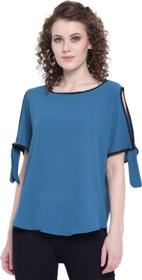 MAYRA Party Short Sleeve Solid Women Light Blue Top MAYRA Women's Tops