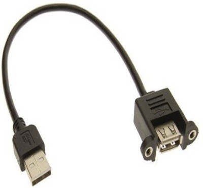PAC 30 cm Screw type USB 3.0 Male To Female Panel Mount Cable 0.3 m Micro USB Cable Compatible with computer, Black PAC Mobile Cables