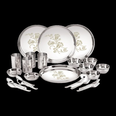 uddhav gold Pack of 28 Stainless Steel Uddhav Gold Collection Stainless Steel Heavy Classic Touch 28 pcs Dinner Set (Weight 5 kg) (28) Dinner Set