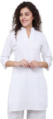 Haniya Women Chikan Embroidery Straight Kurta(White)