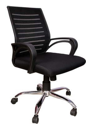 Rajpura Boom Medium Back Revolving Chair with Centre Tilt mechanism in Black Fabric and mesh/net back Fabric Office Executive Chair(Black)