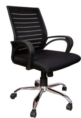 Rajpura Boom Medium Back Revolving Chair with Centre Tilt mechanism in Black Fabric and mesh/net back Fabric Office Executive Chair(Black)
