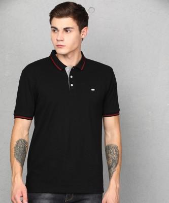 Metronaut Solid Men Polo Neck Black T-Shirt