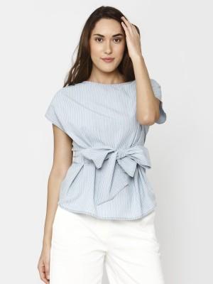 Vero Moda Casual Short Sleeve Solid Women Blue Top