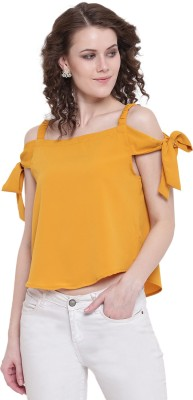 Mayra Party Short Sleeve Solid Women Yellow Top