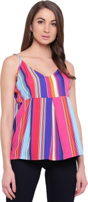MAYRA Party Sleeveless Striped Women Multicolor Top MAYRA Women's Tops