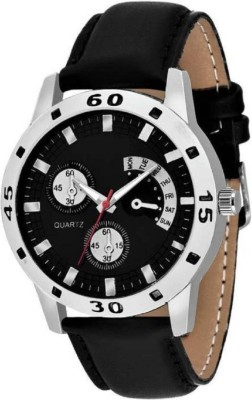 PAUL JORDAN Uniq and Stylish Cronograph Pattern Black Leather Strap Watch Bussines look - For Men 122 Analog Watch  - For Men