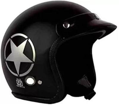 Grizzly O2 Khaki Star ISI Certified Dashing Motorbike Helmet(Black)