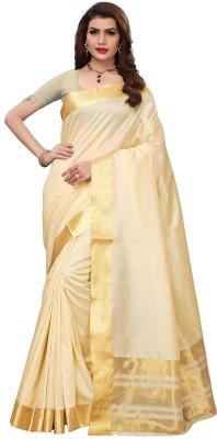 Indianbeauty Solid Kerala Silk Cotton Blend Saree(Cream)