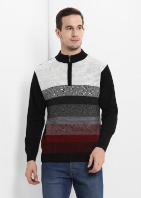Sweven Self Design High Neck Casual Men Black Sweater
