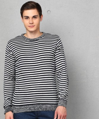 Metronaut Striped Crew Neck Casual Men Dark Blue, White Sweater