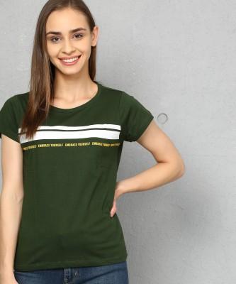 Metronaut Printed Women Round Neck Green T-Shirt