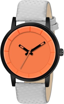 PAPIO P-M 4004 Orange Dial Grey Color Leather Strap Analog Watch  - For Men