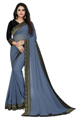 sareeslatest designer Solid Daily Wear Poly Georgette Saree(Grey)