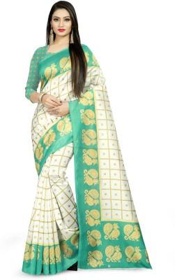 E Vastram Checkered Mysore Art Silk Saree White