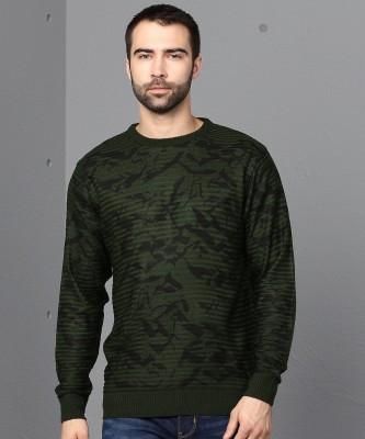 METRONAUT Printed Crew Neck Casual Men Green Sweater