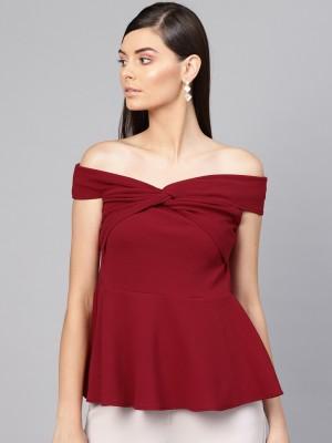 Sassafras Casual Sleeveless Solid Women Maroon Top