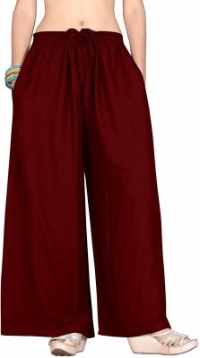 Dsfabs Relaxed Women Maroon Trousers Dsfabs Palazzos
