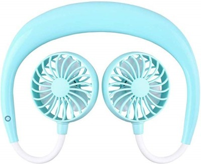 ROQ 3 Speed Rechargeable Mini Handsfree Neck Band USB Fan(Blue)