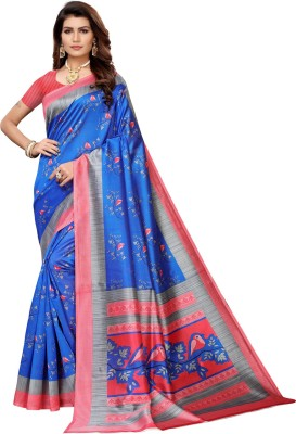 Saara Printed, Geometric Print, Animal Print, Floral Print Kalamkari Polycotton, Art Silk, Poly Silk, Cotton Silk Saree(Blue, Pink)