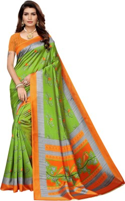 Saara Printed, Geometric Print, Animal Print, Floral Print Kalamkari Polycotton, Art Silk, Poly Silk, Cotton Silk Saree(Green, Orange)