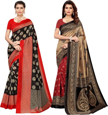 Saara Printed, Paisley, Striped, Floral Print, Solid Kanjivaram Art Silk, Poly Silk, Cotton Silk Saree(Pack of 2, Multicolor)