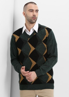 Sweven Self Design V Neck Party Men Green Sweater