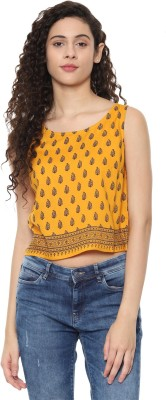 People Casual No Sleeve Printed Women Yellow Top