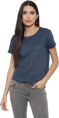 People Casual Half Sleeve Self Design Women Blue Top