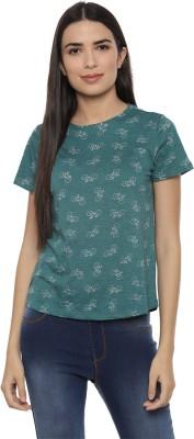 People Casual Half Sleeve Printed Women Green Top