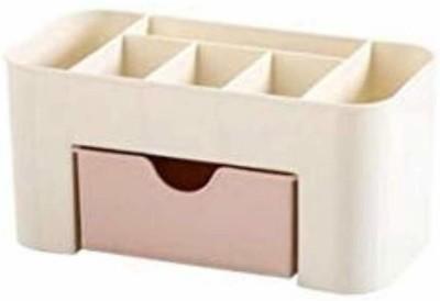 SUKHAD 6 Compartments plastic pen stand ,(White)