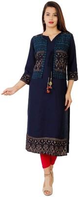 KHANAK Women Printed Straight Kurta(Blue)