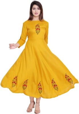 vijay garments Women Gown Yellow Dress