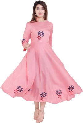 vijay garments Women Gown Pink Dress