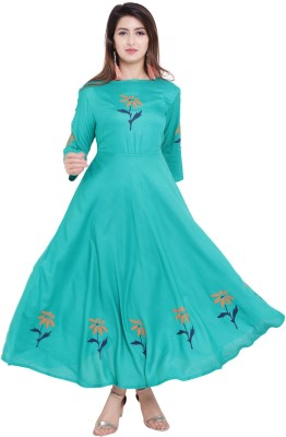vijay garments Women Gown Green Dress