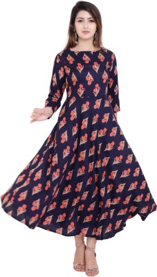 vijay garments Women Gown Blue Dress