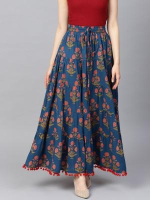Varanga Floral Print Women Flared Blue Skirt