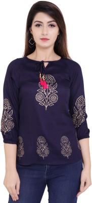 Gujari Casual 3/4 Sleeve Printed Women Blue Top