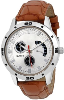 Eagle Fly Foxter Fx-426 White Display Leather Strap Latest Stylist Different Attractive Look Classic Designers Analog Watch  - For Men