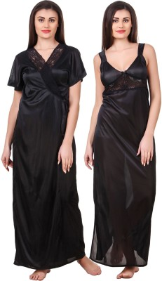 fasense Women Nighty with Robe(Black)