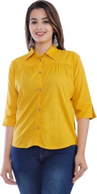 ANIDA ENTERPRISES Casual 3/4 Sleeve Solid Women Yellow Top
