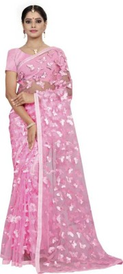 narideal Self Design Bollywood Cotton Blend Saree Pink