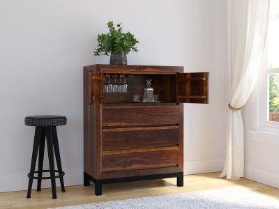 Induscraft Shimoga Solid Wood Bar Cabinet(Finish Color - Brown)