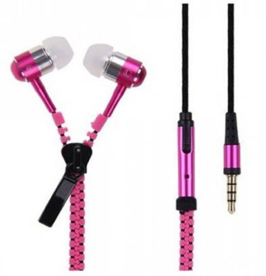 TRENTECH Zipper Z1963 Stereo Dynamic Tangle Free Handfree Wired Headset Wired Headset(Pink, Wired in the ear)