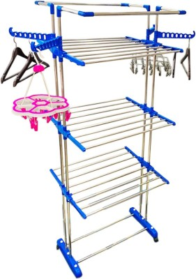 Flipkart SmartBuy HEAVY DUTY EXTRA STRONG AND EXTRA LONG TO DRY ALL LONG CLOTHES LIKE KURTIS, TOWELS , BED SHEETS , ETC Stainless Steel, Polypropylene Floor Cloth Dryer Stand(Steel, Blue)