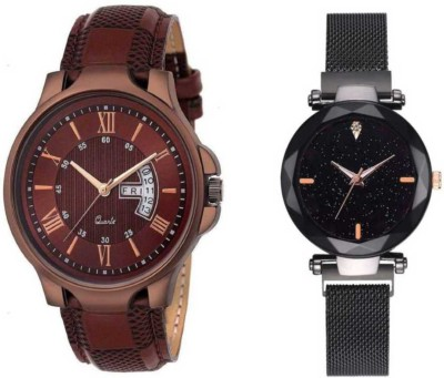 FASHION POOL BROWN DATE & DAY DESIGNER LEATHER BELT WATCH MAGNET BELT COMBO WITH LEATHER BELT DESIGNER COUPLE WATCH FOR MEN_WOMEN LADIES & GENTS WATCH Analog Watch  - For Couple